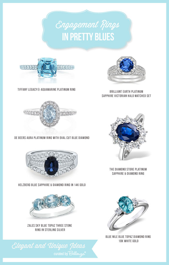 Blue engagement rings in sky blue of topaz, to sparkling clear aquamarine, to deep, elegant sapphire.