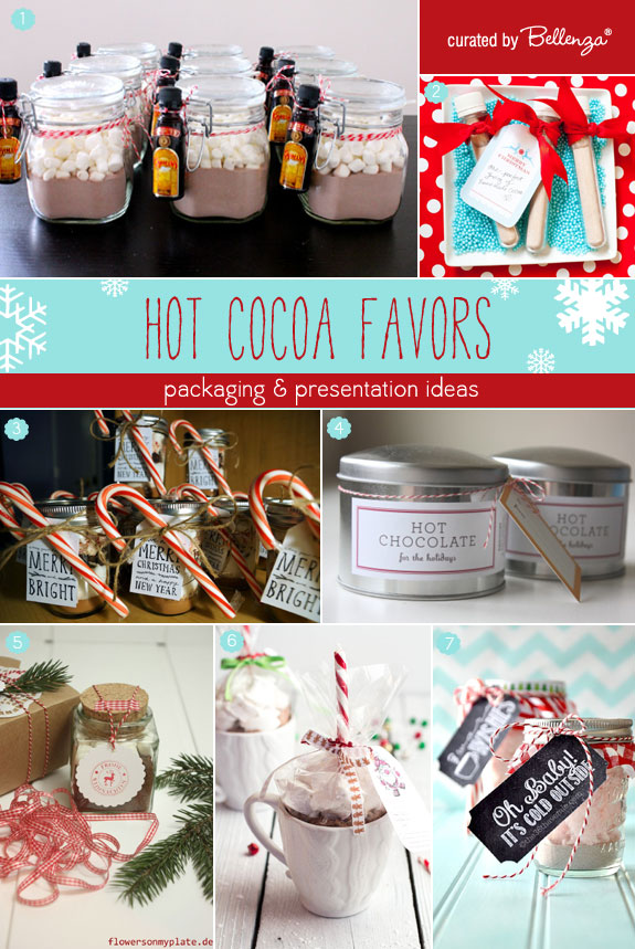 Hot cocoa favors for weddings. Creative and cool ways to package them using tins, mason jars, and bottles.