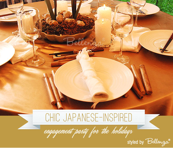 Japanese engagement party with chic and modern touches by Bellenza.