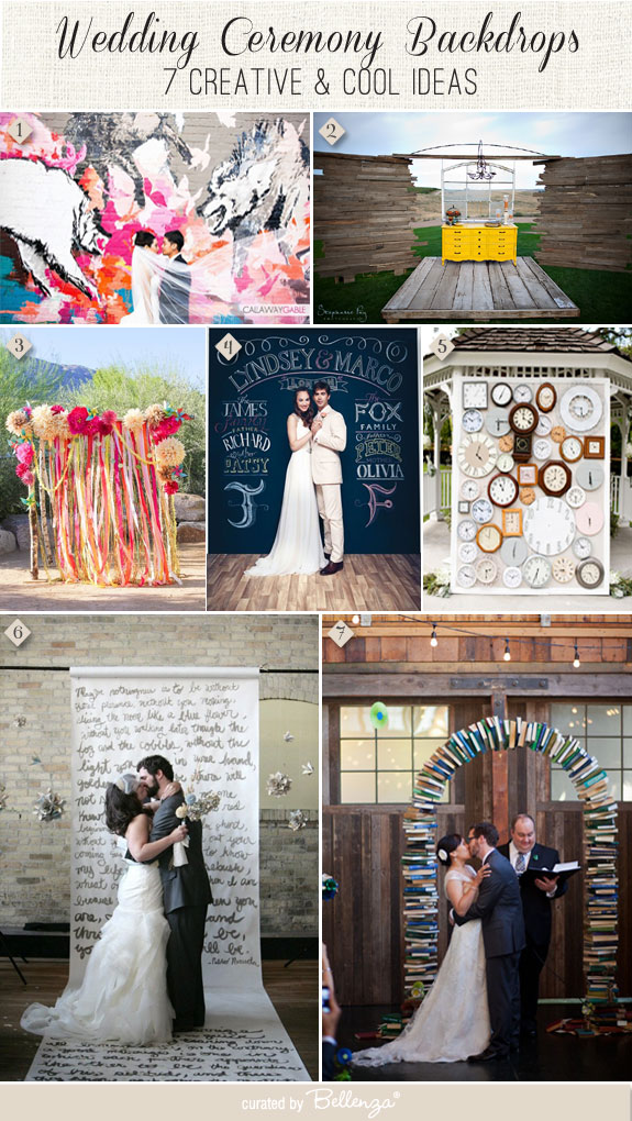 Wedding backdrops that are creative from graffiti wall art to hanging clocks to giant scrolls.