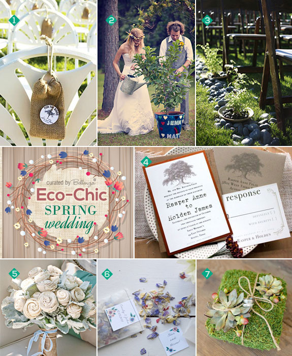 Eco chic wedding ceremony ideas for spring from unity tree planting to wedding toss bags.