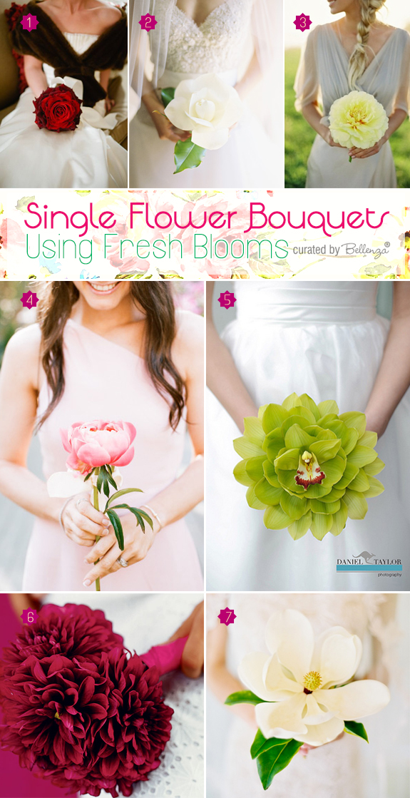 Single flower bouquets using fresh flowers like roses, peonies, cymbidium orchids, dahlias, and magnolias.