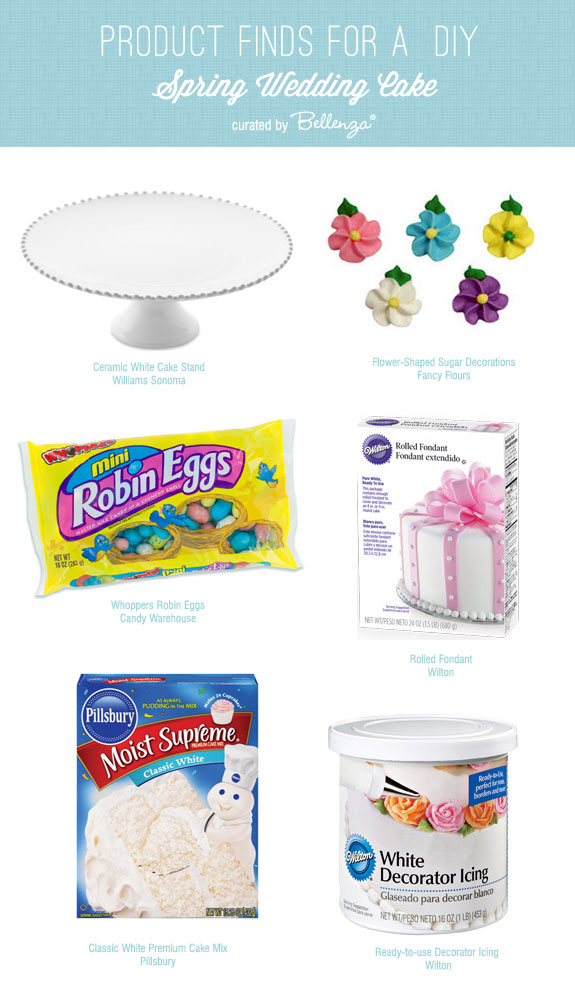 Spring wedding cake products from cake stands to ready-made fondant to sugared flowers for a DIY bride.
