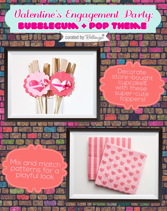 Valentine' s Cupcake Toppers and Napkins