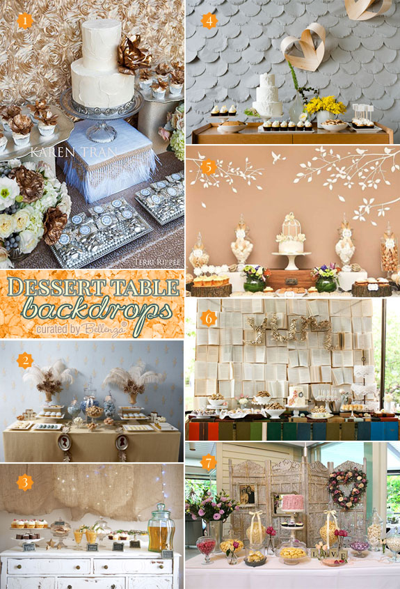 Creative designs for making wedding dessert table backdrops from rosettes to screens.