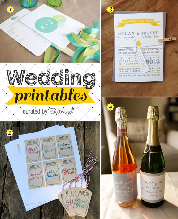Pretty wedding printables you can download and print from fan programs to wine bottle labels!