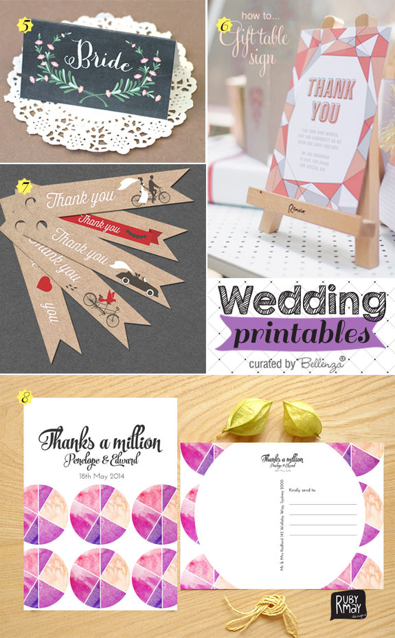 Ideas for wedding printables cards from place cards to favor tags.