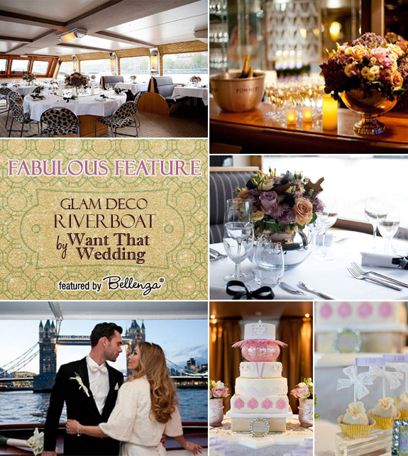 Glam river boat styled shoot feature on The River Thames.