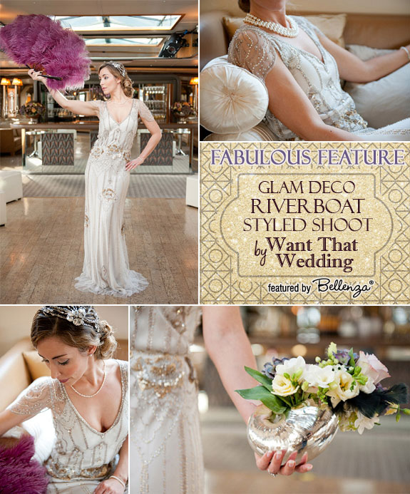Glam river boat styled shoot feature with a Jenny Packham dress.