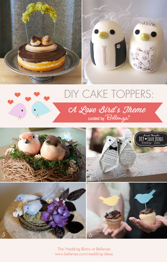 DIY Cake Toppers for a Love Bird's Wedding Theme