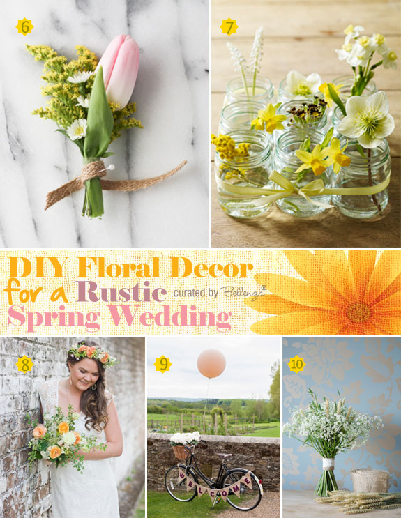 Ready to DIY your spring wedding? Consider rustic diy floral decorations as seen on the wedding blog of Bellenza!