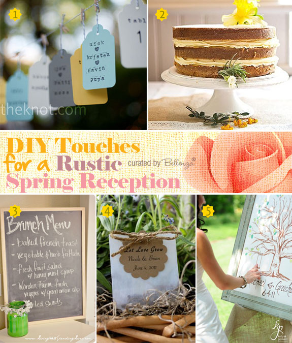 DIY Touches for a Rustic Spring Reception as Featured on The Wedding Bistro at Bellenza.