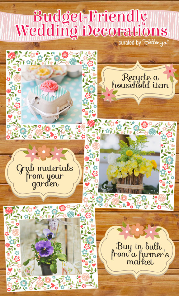 Simple wedding decorations that you can DIY for a spring wedding from favor packaging to centerpieces.