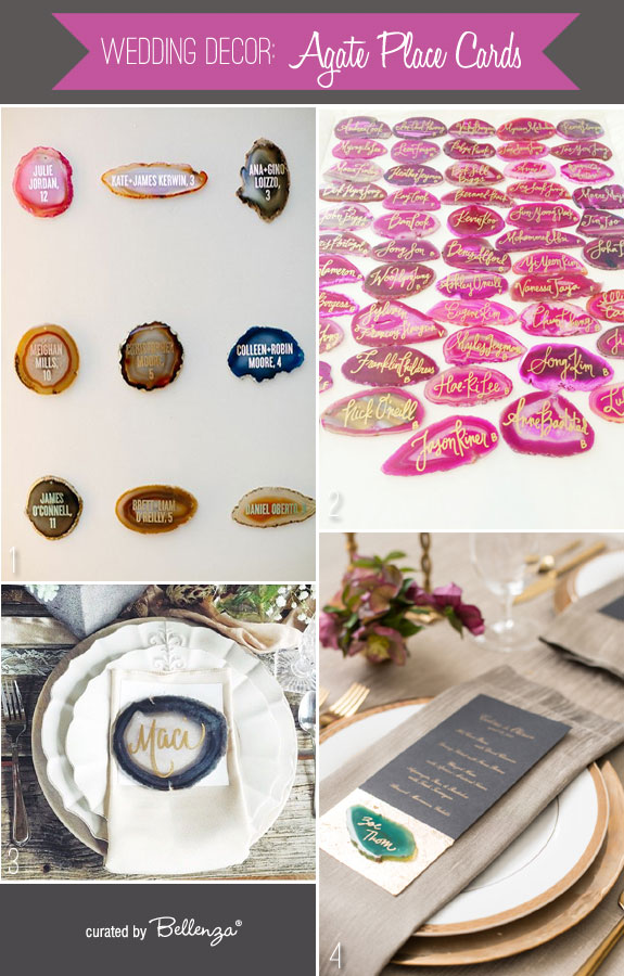 Inspiring and Pretty Agate Place Cards! for Weddings