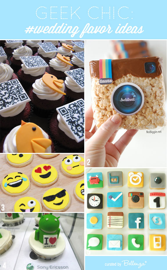 Geek-inspired favors from moji cookies to Android cupcakes. Give something fun and hip!