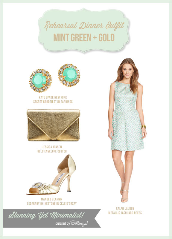 Go Stylish with Minimalist Look at Your Rehearsal Dinner with a Mint Green and Gold Outfit as featured by the Wedding Bistro at Bellenza