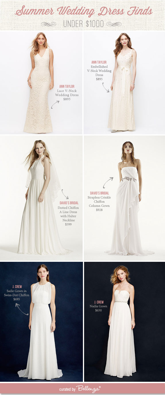Summer Wedding Dress Finds for Under $1000. See all the pretty finds at the Wedding Bistro at Bellenza.
