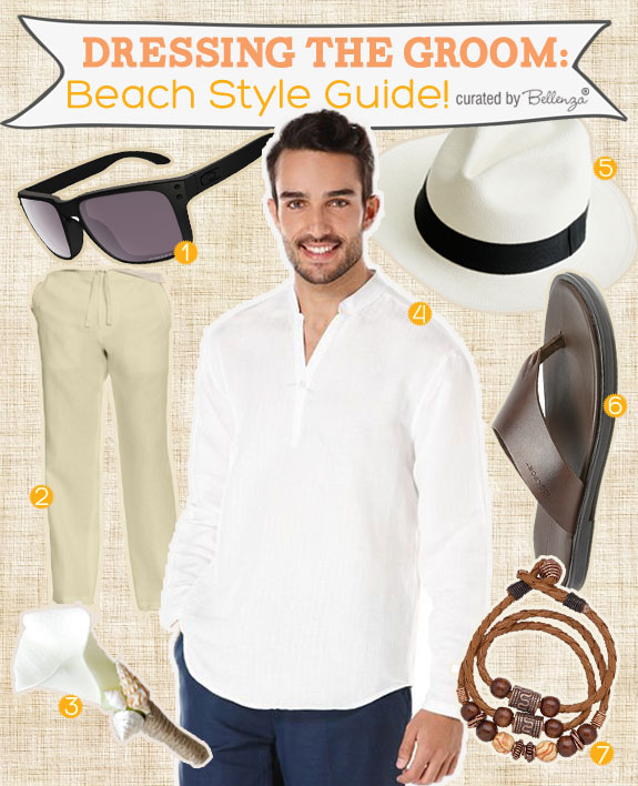 Wondering what the groom should wear to a beach wedding. See Bellenza's simple style guide for tips and finds.