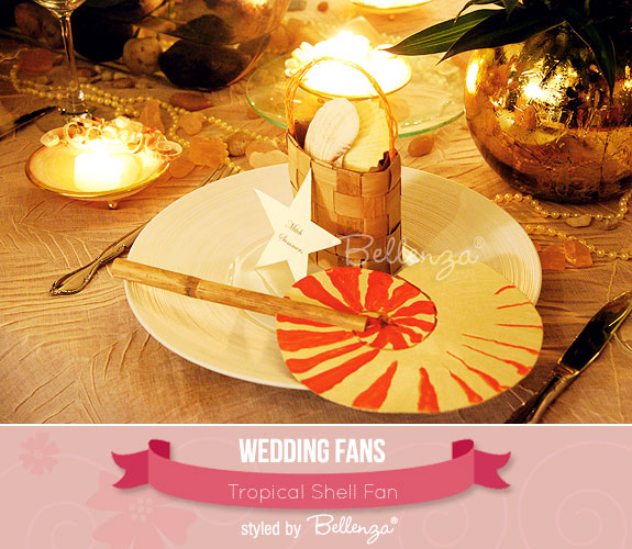 Tropical Shell Fan | created by the Wedding Bistro at Bellenza