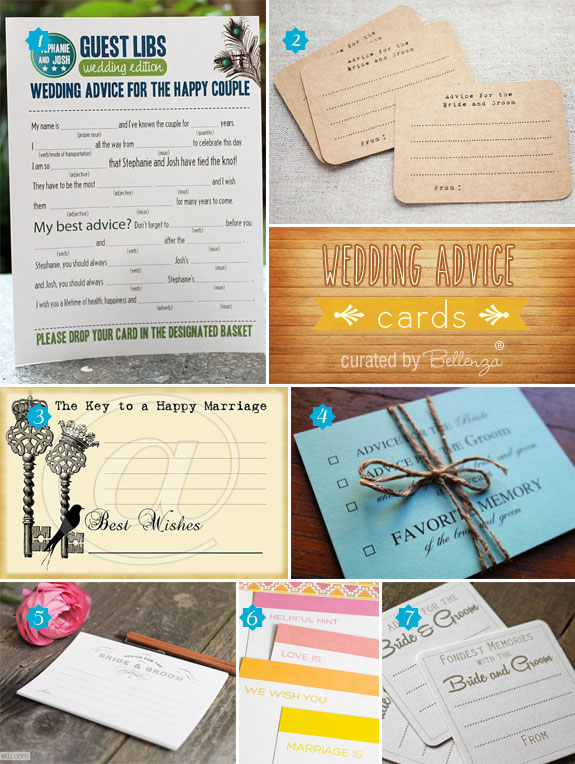 Wedding Advice Cards! Creative Finds for Your Wedding Advice Tables.
