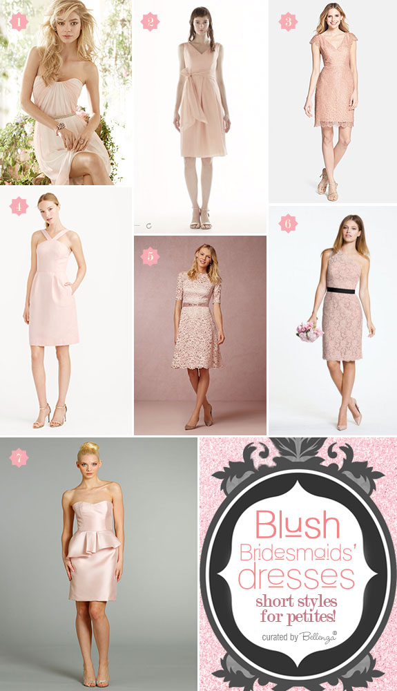 Short Bridesmaids' Dress Styles in Beautiful Blush | as featured on the Wedding Bistro at Bellenza!