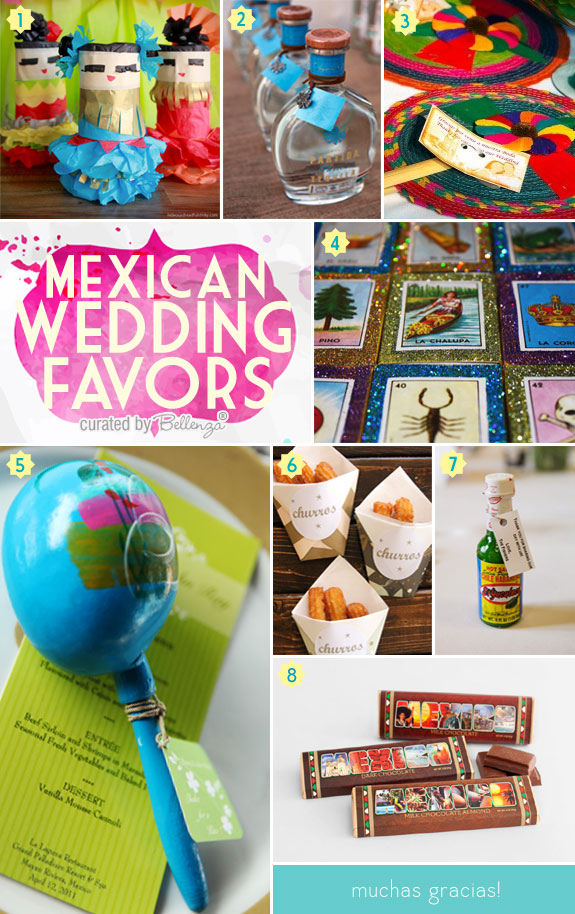 Favor Ideas for a Mexican-themed Wedding Such as Maracas, Hot Sauce, Chocolate Bars, Fans, Loteria Card Matchboxes, and Tequila Bottles.