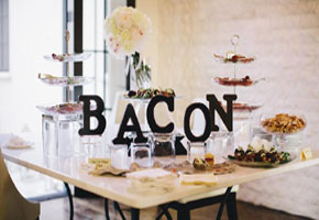Bacon bar by WM Events. Anne Almasy Photography