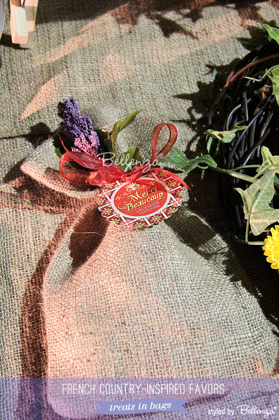 Burlap favor pouches as French country inspired favors
