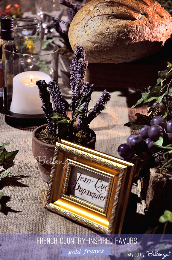 Pretty gold frames as French country inspired favors