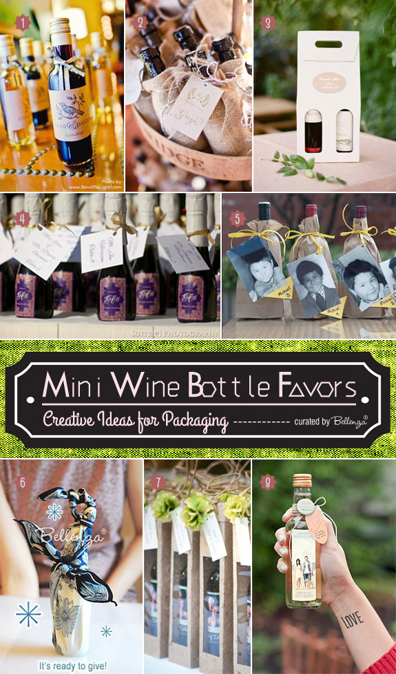 Creative Ways to Package Mini Bottles of Wine as Favors from Tags to Personalized Labels | as featured on the Wedding Bistro at Bellenza.