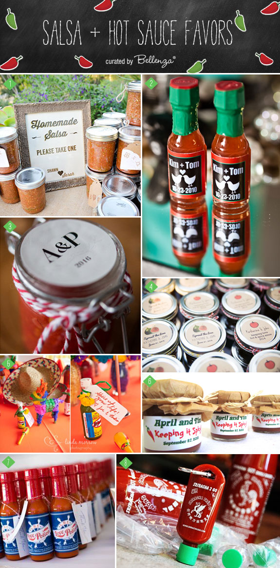 Spice Up Your Wedding with Salsa and Hot Sauce Favors for Your Wedding   as featured on the Wedding Bistro at Bellenza!