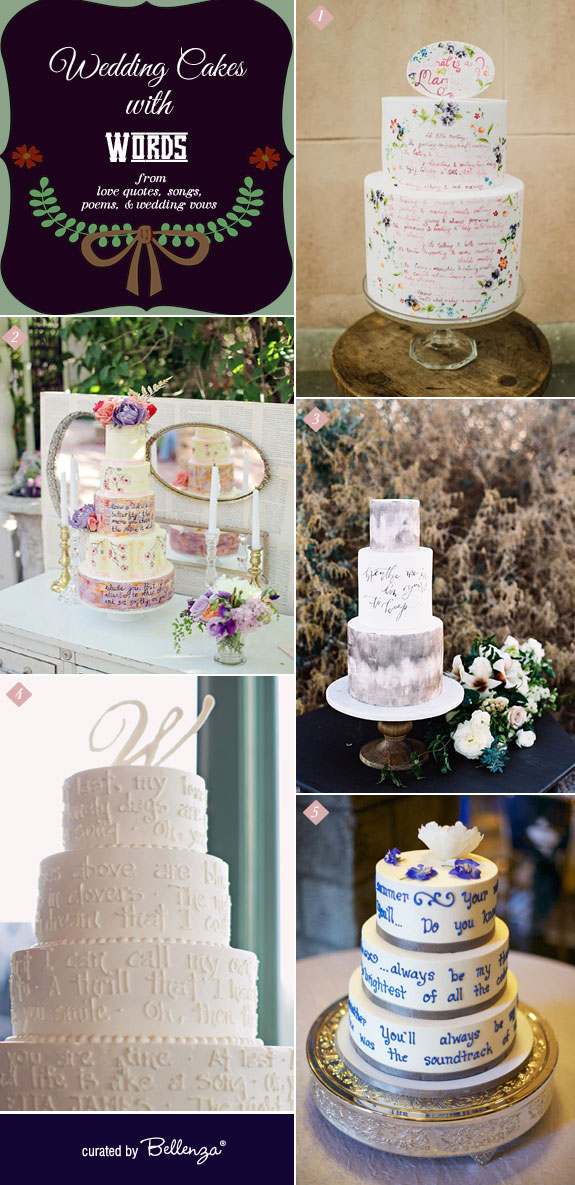 Wedding Cakes with Personalized Messages from love quotes, poems, and song lyrics, including the wedding vows | as featured on the Wedding Bistro at Bellenza