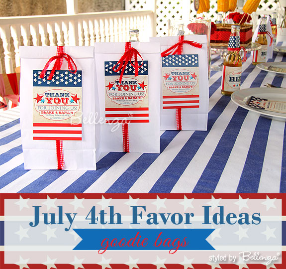 July 4th Wedding Favors! Give Goodie Bags with Treats | as styled by Bellenza. #july4weddings #july4weddingfavors