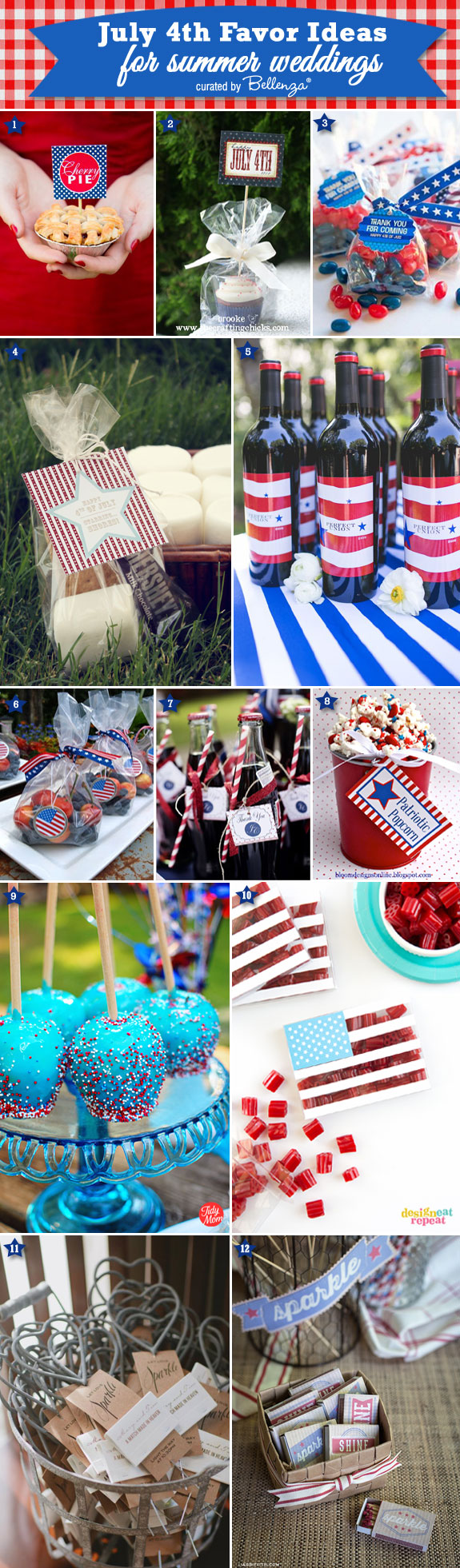 12 Favor Ideas for July 4th Weddings! #july4weddingfavors #july4partyfavors