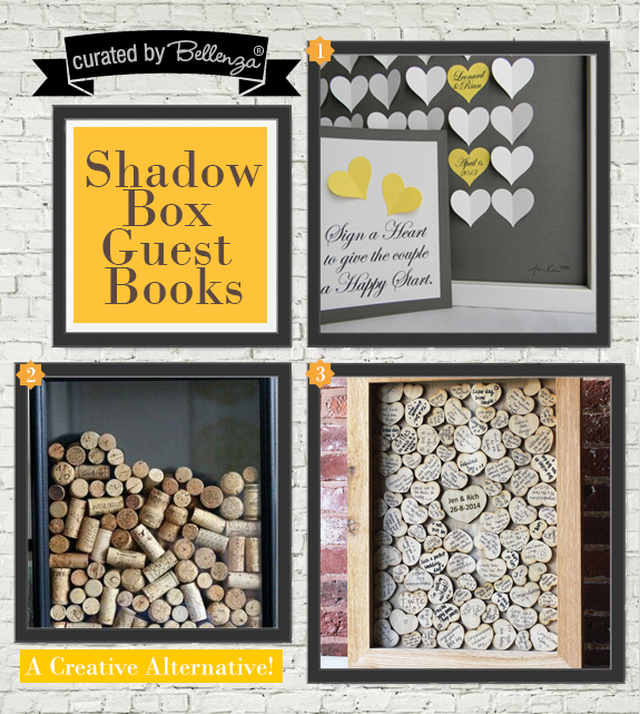 Shadow Box Guest Books | as featured on the Wedding Bistro at Bellenza. #shadowboxguestbooks #alternativeguestbooks