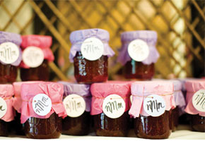 Strawberry jam in jars. Image from Bridal Guide.