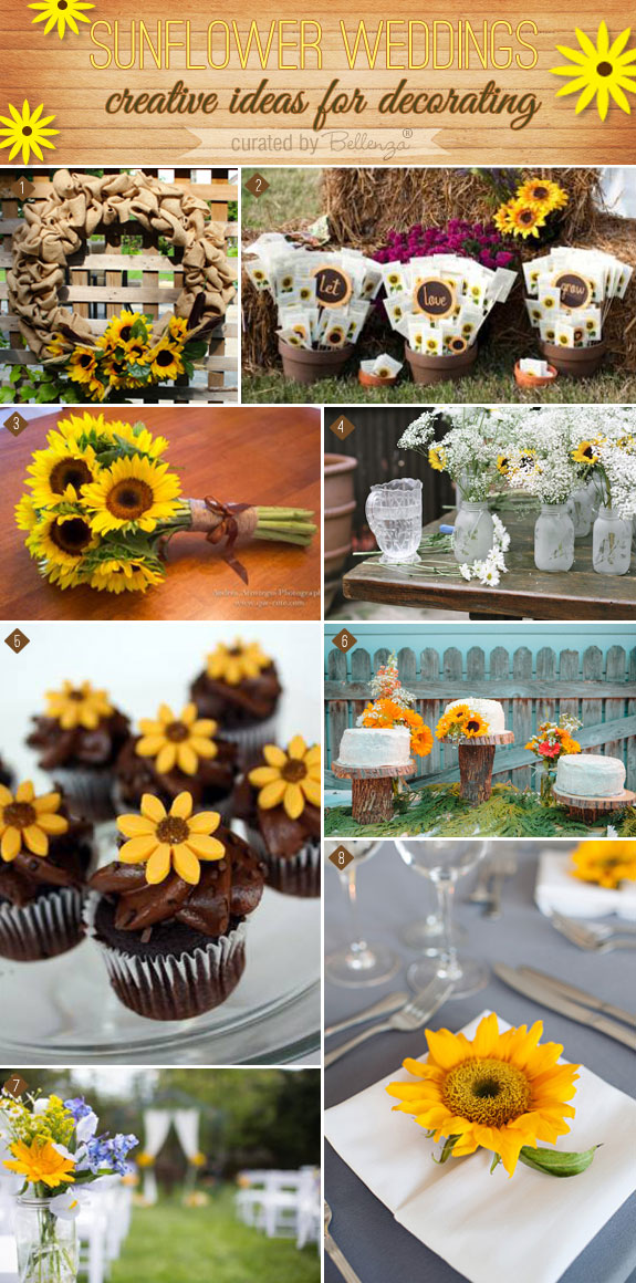 What can you do with sunflowers? A lot! See how you can find creative ways to decorate a wedding reception and ceremony with sunflowers. #sunflowerweddings #sunflowers