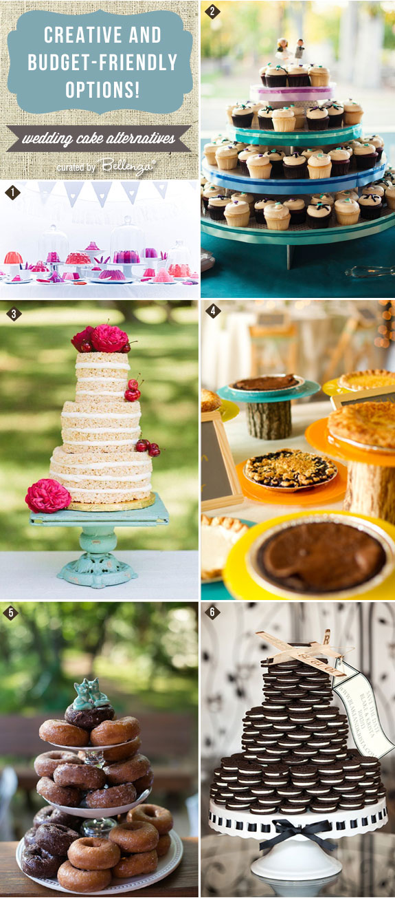 Non-traditional wedding cake ideas from jello to cupcake to donut towers! Includes cookies on tiered stands as wedding cakes! #weddingcakealternatives #nontraditionalweddingcakes