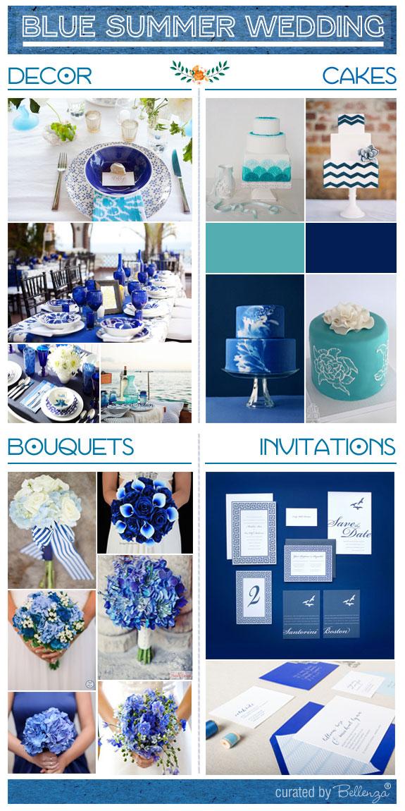 Blue summer wedding elements from cakes to invitations to bouquets. #blueweddingideas #blueweddings