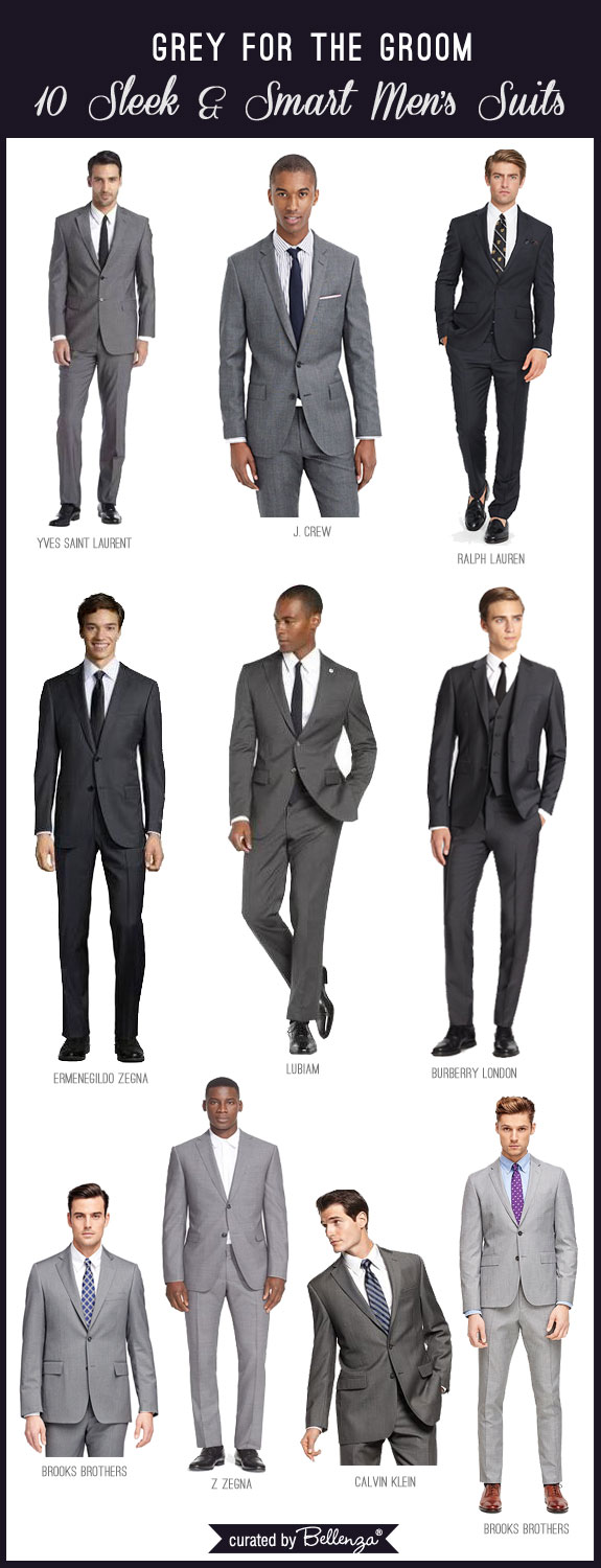 Grey Men's Suits for Weddings from Charcoal to Dark and Light Grey. #greymenssuits #greyforthegroom