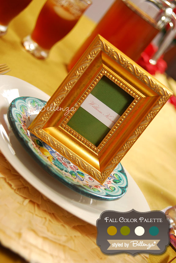 Gold, Olive, Ivory, Teal Fall Wedding Color Palette | The Wedding Bistro at Bellenza.
