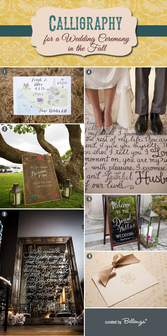 Incorporate the beauty of calligraphy into your fall wedding ceremony from the signage to the programs.