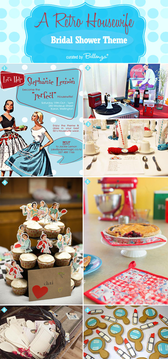 Decor and Recipe Ideas for a 1950s Housewife Theme. #retrobridalshowers