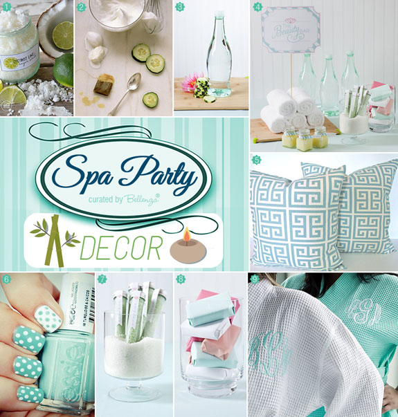 Decorations and supplies for a Spa-Manicure Bridal Shower | as featured on Bellenza. #spabridalshowers