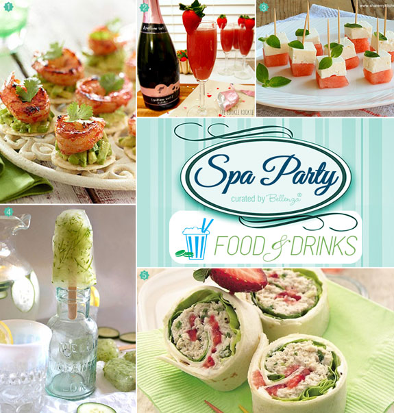Spa manicure party food and drinks. #spabridalshowers