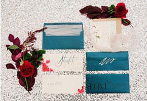 Teal wedding invitations