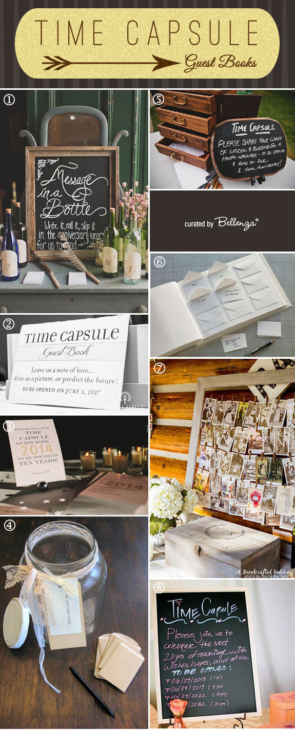 DIY Ideas for Your Time Capsule Guest Book as Featured on the Wedding Bistro at Bellenza. #guestbookideas #timecapsuleguestbooks
