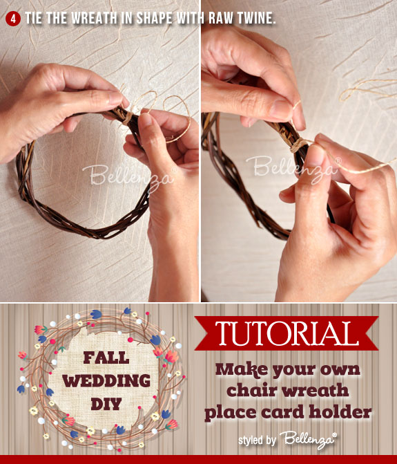 Tie the wreath with raw twine or similar material that can hold the vines together.