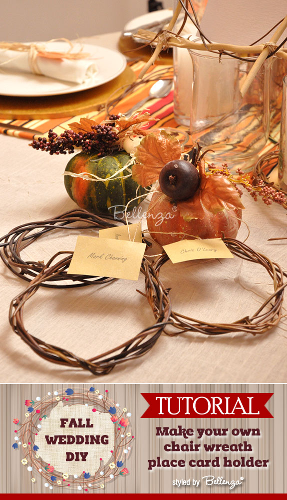 Chair wreath as a place card holder for autumn weddings. A DIY from the Wedding Bistro at Bellenza.