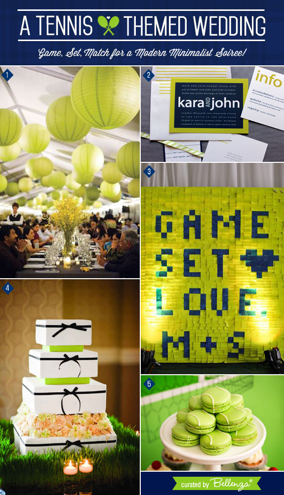Tennis Themed Wedding with a Navy Blue and Chartreuse Palette in a Modern Style. #tennisweddings